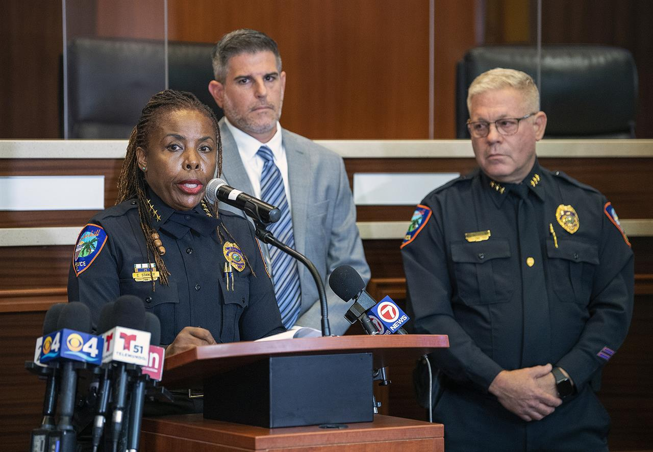 Lauderhill Police Chief Constance Stanley speaks during a news conference, Wednesday, June 23, 2021, in Lauderhill, Fla., after two young girls were found dead in a canal a day earlier. (Michael Laughlin/South Florida Sun-Sentinel via AP)