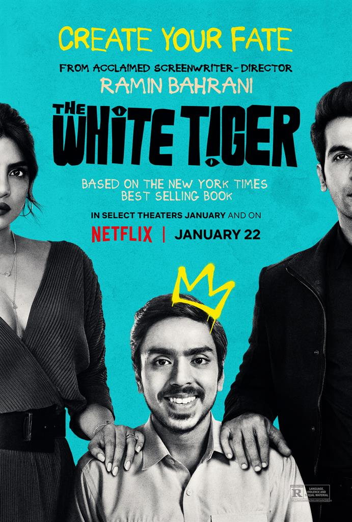 "This image released by Netflix shows key art for ""The White Tiger,"" a film streaming on Netflix beginning January 22. (Netflix via AP)"