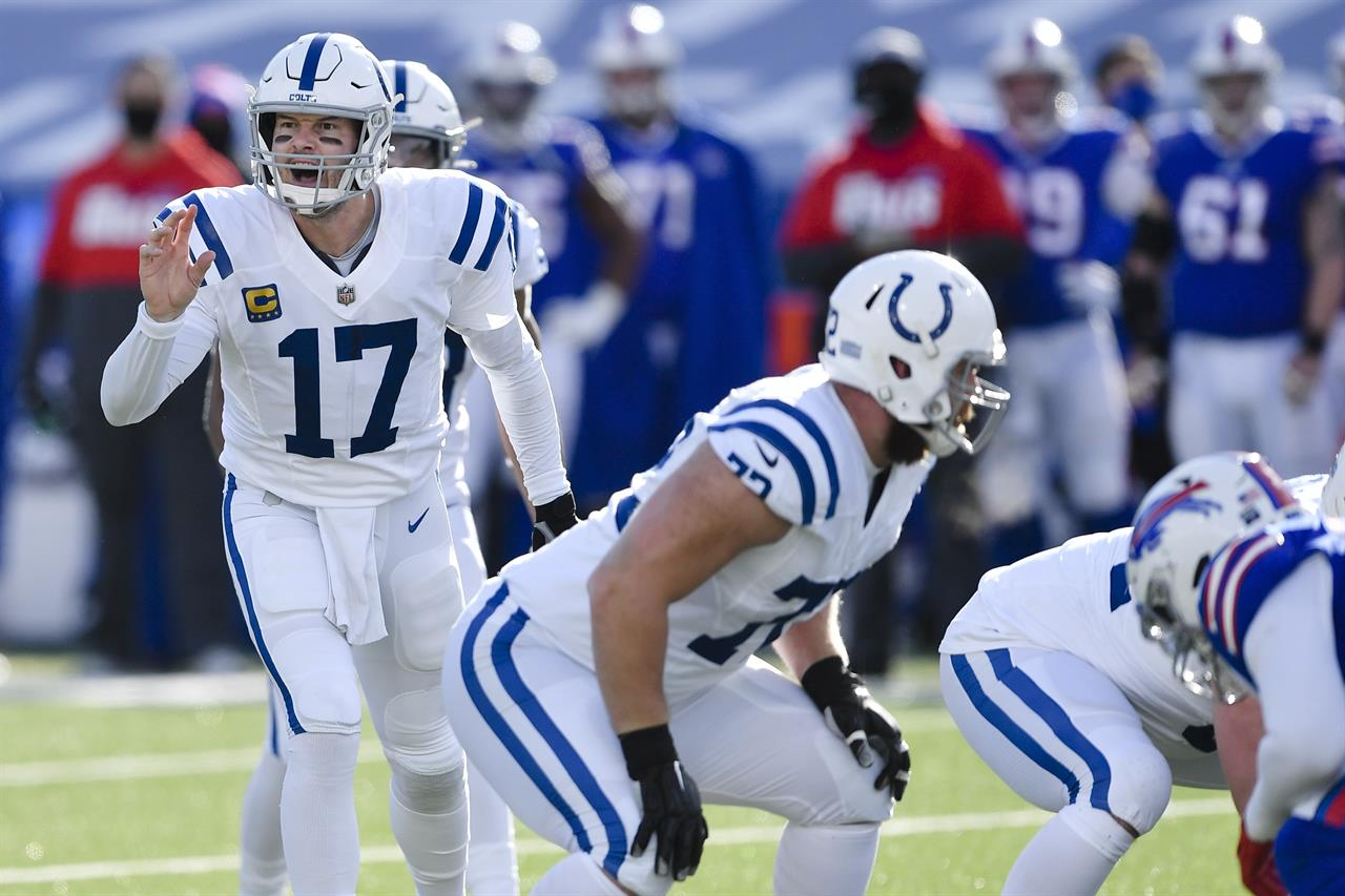 Indianapolis Colts quarterback Philip Rivers (17) calls out to his teammates during the first half of an NFL wild-card playoff football game against the Buffalo Bills, Saturday, Jan. 9, 2021, in Orchard Park, N.Y. (AP Photo/Adrian Kraus)