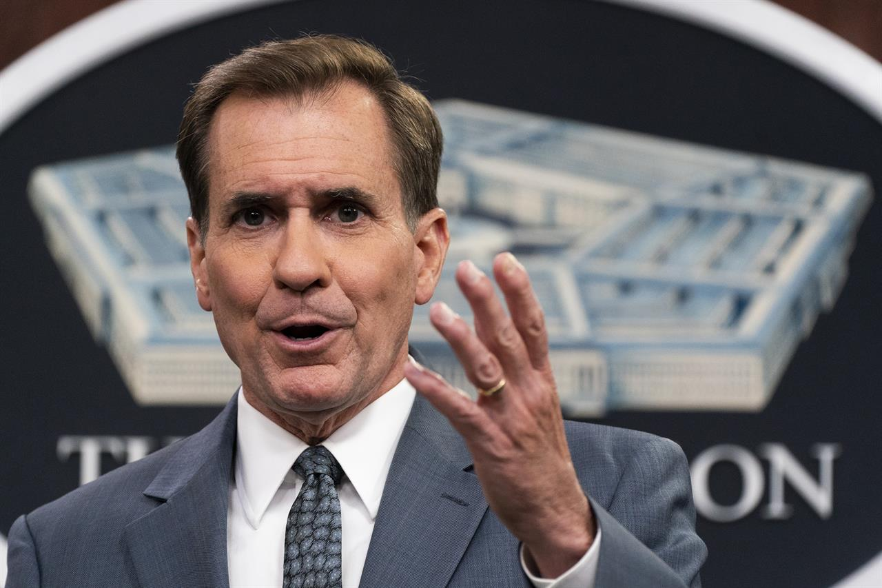 Pentagon spokesman John Kirby speaks during a briefing at the Pentagon in Washington, Monday, July 19, 2021. (AP Photo/Manuel Balce Ceneta)