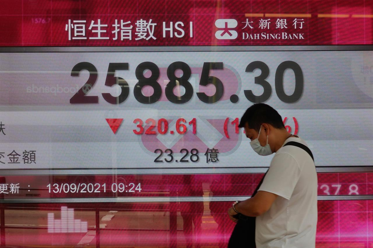 A man walks past a bank's electronic board showing the Hong Kong share index at Hong Kong Stock Exchange in Hong Kong Monday, Sept. 13, 2021. Shares slipped Monday in most Asian markets after Wall Street benchmarks ended last week with a decline. (AP Photo/Vincent Yu)