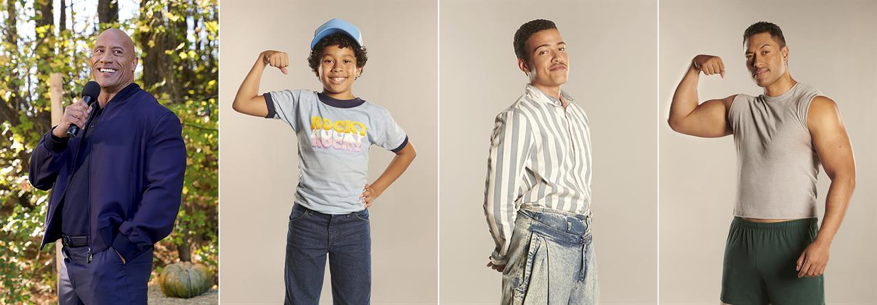 """This combination of photos released by NBC shows, from left, Dwayne Johnson, left, and the actors who portray him in the comedy series """"Little Rock,"""" Adrian Groulx as Dwayne at 10, Bradley Constant as Dwayne at 15 and Uli Latukefu as Dwayne at 20. The series premieres on Feb. 16. (NBC via AP)"""