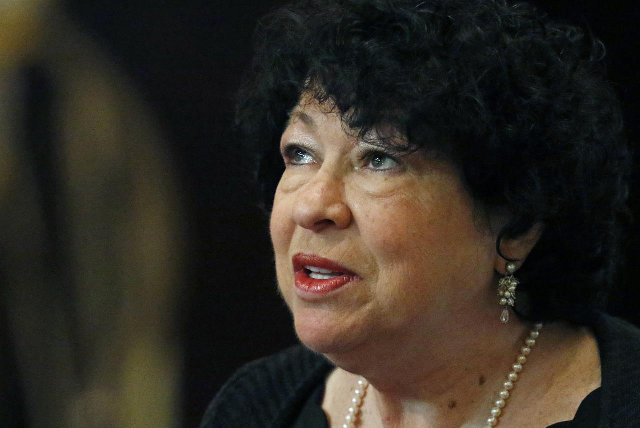 """FILE - In this Aug. 17, 2019 file photo, U.S. Supreme Court Associate Justice Sonia Sotomayor, speaks at the Mississippi Book Festival in Jackson, Miss.  U.S. District Judge Esther Salas in New Jersey says the lawyer who killed her son and seriously wounded her husband also had been tracking Supreme Court Justice Sonia Sotomayor.  Salas told CBS News' """"60 Minutes""""  FBI agents discovered the information in a locker belonging to the lawyer, Roy Den Hollander.  (AP Photo/Rogelio V. Solis)"""