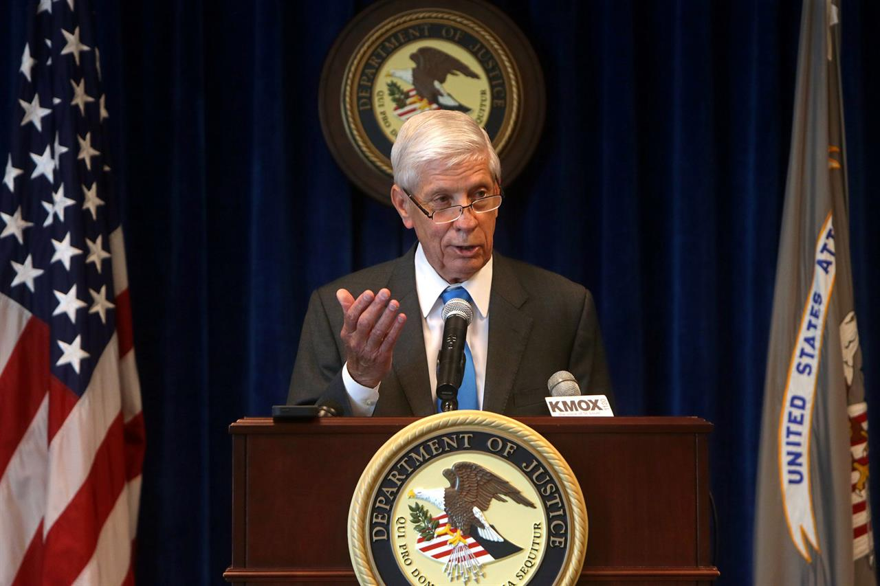 FILE - In this Aug. 14, 2015, file photo, U.S. Attorney Richard Callahan speaks at a press conference in St. Louis. Callahan, as former U.S. attorney and circuit judge, was appointed Wednesday, Feb. 24, 2021, as special prosecutor in the case against a St. Louis couple who waved guns at racial injustice protesters last summer (Cristina M. Fletes/St. Louis Post-Dispatch via AP)