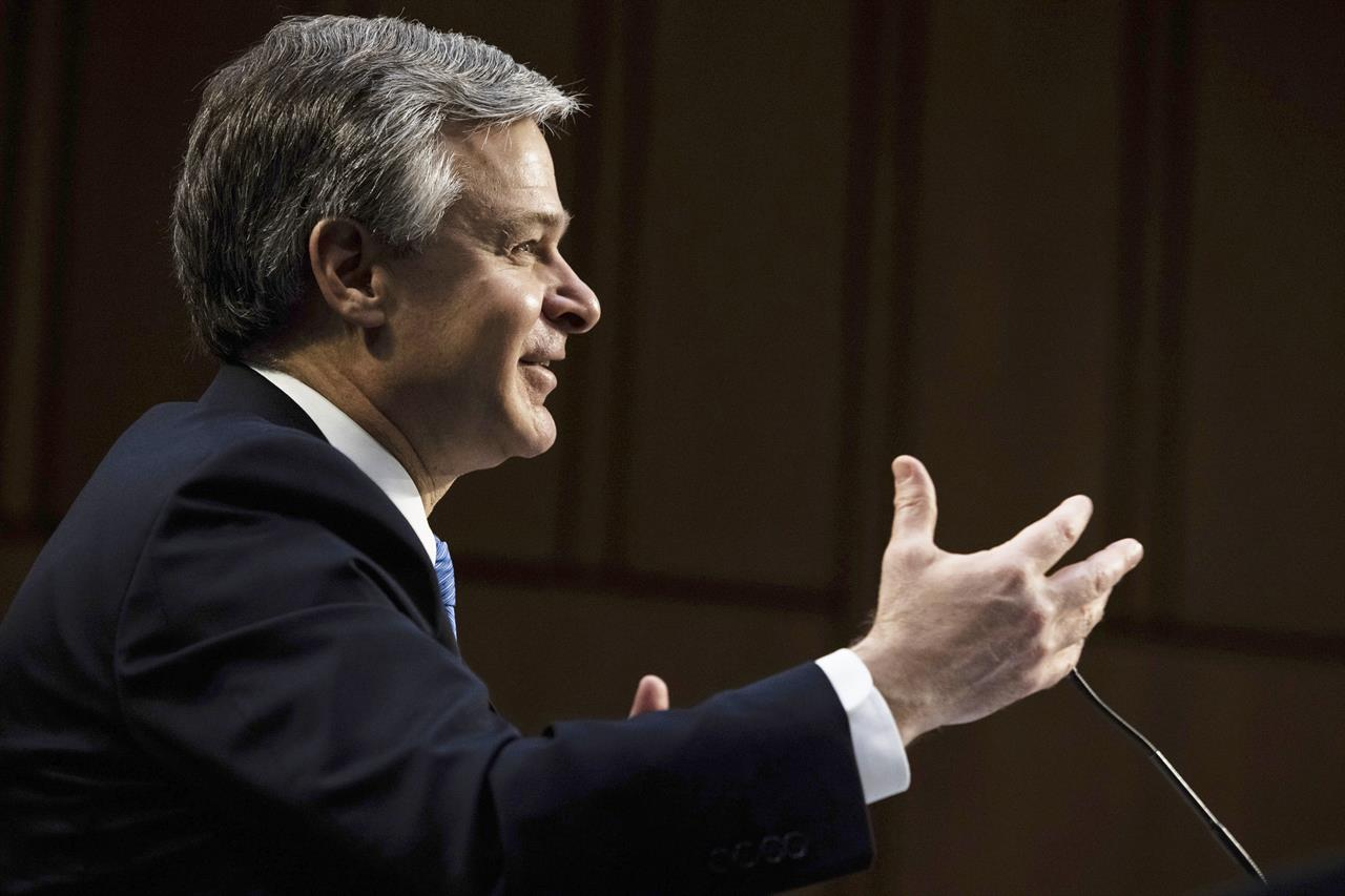 FBI Director Christopher Wray testifies before the Senate Judiciary Committee on Capitol Hill in Washington, Tuesday, March 2, 2021. (Graeme Jennings/Pool via AP)