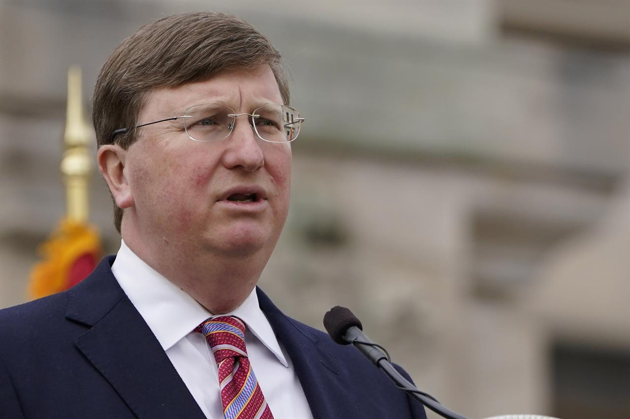 Mississippi Gov. Tate Reeves speaks about his policy priorities and the state's coronavirus pandemic response during his State of the State speech on Tuesday, Jan. 26, 2021, on the south steps of the state Capitol in Jackson, Miss. (AP Photo/Rogelio V. Solis)