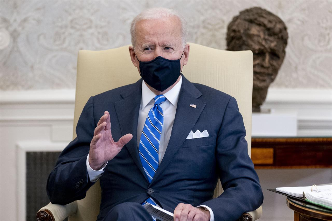 President Joe Biden, speaks as he meets with Vice President Kamala Harris, Transportation Secretary Pete Buttigieg, and members of the House of Representatives in the Oval Office of the White House in Washington, Thursday, March 4, 2021, on infrastructure. (AP Photo/Andrew Harnik)
