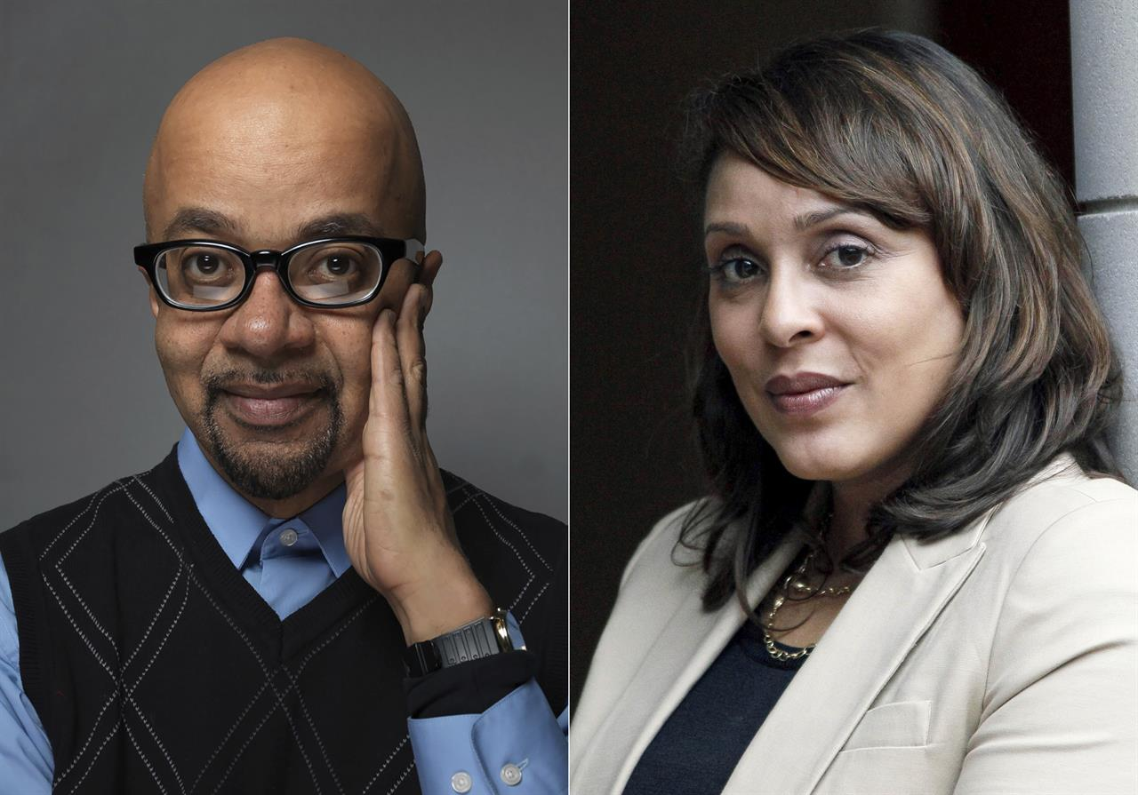 Author James McBride poses for a portrait during the 2012 Sundance Film Festival in Park City, Utah, on Jan. 23, 2012, left, and U.S. Poet Laureate Natasha Trethewey poses outside the president's office at Delta State University in Cleveland, Miss., on Sept. 18, 2012. McBride, Trethewey and science fiction great Samuel R. Delaney are among this year's winners of Anisfeld-Wolf awards for books that confront racism and help promote diversity. (AP Photo)